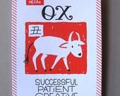 "Chinese Zodiac 5""x7"" - YEAR of the OX - Letterpress Art Print - New Years - Junishi"