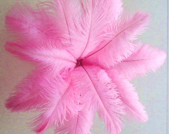 """5 OSTRICH 10-12"""" Feathers medium PINK quills plumes drabs"""