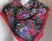 "Lovely Black Red Floral Poly Scarf - 31"" x 31"" Square"