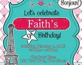 Printable DIY Paris France Eiffel Tower Birthday Girl Doll Invitation