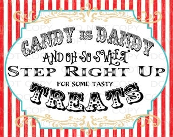 "Printable DIY Vintage Circus Candy Treat Table sign - 8.5"" x 11"" INSTANT DOWNLOAD"