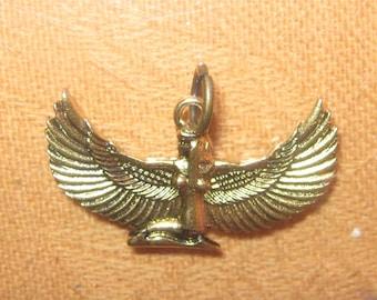Gold Brass Tone Egyptian Goddess Isis Pendant Necklace
