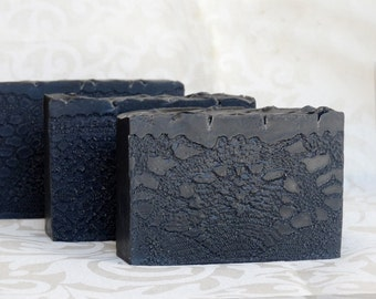 3 Pack Activated Charcoal & Apricot oil, Sandalwood scented cold process Soap-Detox facial soap for Men and Woman-based on Greek Olive Oil