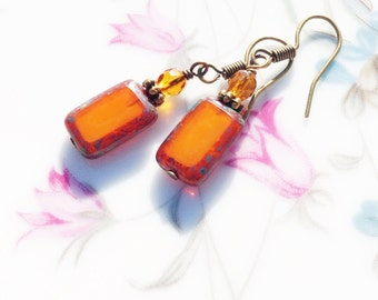 OrangeTablet Bead Earrings