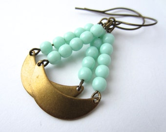 Aqua Earrings Earrings Brass Crescent Earrings Brass Jewelry Dangle Earrings Aqua Jewelry Turquoise Jewelry Handmade Jewelry