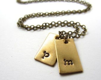 Little Tag Initial Necklace Two Initial Charm Necklace Personalized Jewelry Mommy Jewelry Custom Initial Jewelry Necklace Valentines Gift