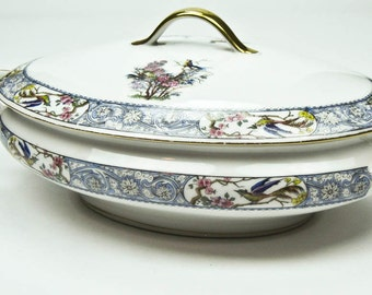 Covered Oval Vegetable Dish German China Matches Theodore Haviland Rajah Pattern