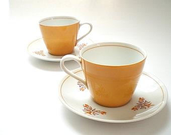 2 Vintage China Tea Cup & Saucer Sets Mid Century China Teacups Kitchen Decor Mustard Yellow Mid Century Decor