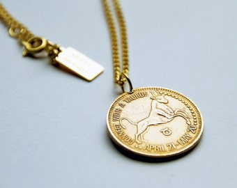 Taurus -  Necklace - Constellation - Zodiac - Charm - Necklace - Vintage - Coin - Humor - Astrology - Jewelry -  Mature