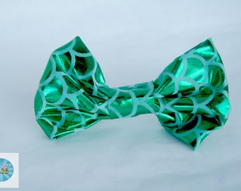 Big Fabric Green Mermaid Scales Bow
