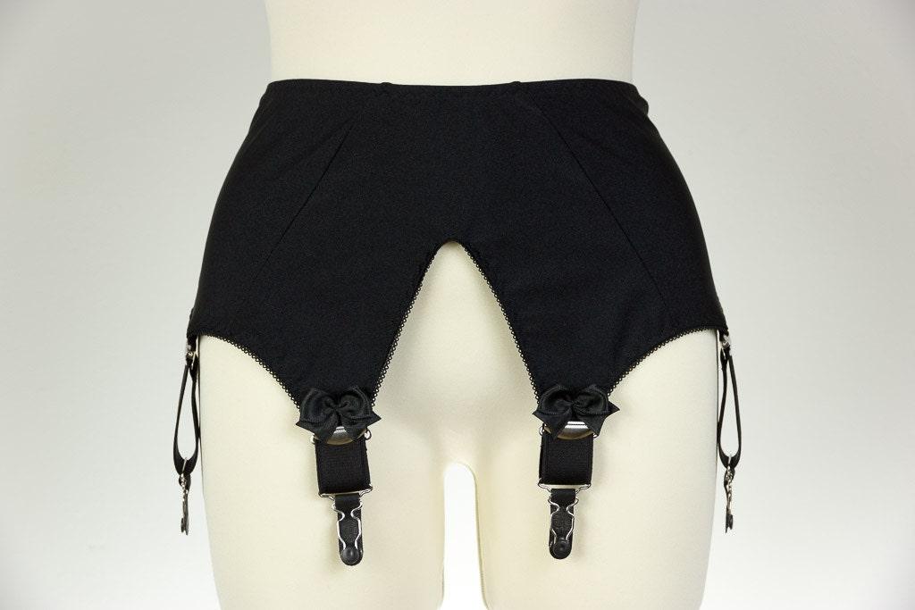 v style black white iris garter belt wide suspender belt