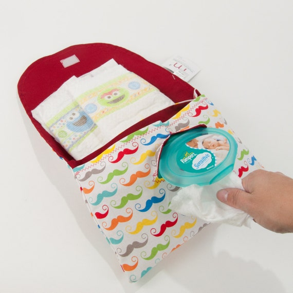 multi mustaches diaper and wipe clutch mini diaper by marshmueller