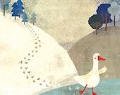 NOVEMBER GOOSE - art print // goosey illustration // blue home decor