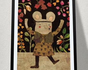 HELLO!  art print // mouse girl illustration // black brown pink //  digital painting