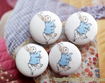 Fabric Covered Buttons (M) - Fairy Tale Peter Rabbit Bunny (4Pcs, 0.98 Inch)