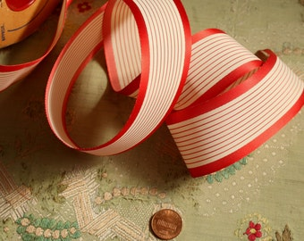 1yard vintage millinery ribbon rayon woven stripe ribbonwork white red shade 1940 hat trim nos cocarde excellent