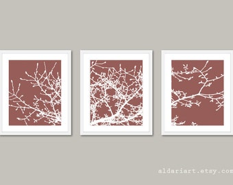 Magnolia Tree Branches Art Prints - Set of 3 - Brown and White - Nature Home Decor - Modern Tree Wall Art
