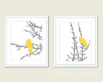 Birds on Branches Art Print Set - Yellow and Grey - Modern Bird Wall Art - Woodland - Bird on Twig Decor