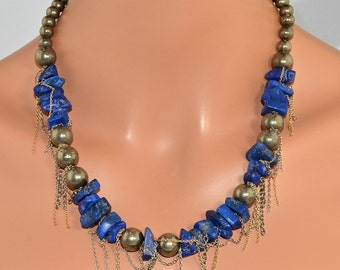 "LP 324  Brilliant Blue Lapis ,Pyrite,Sterling Silver and 14KGF Chain Necklace    "" One Of A Kind """