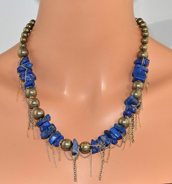 """LP 324  Brilliant Blue Lapis ,Pyrite,Sterling Silver and 14KGF Chain Necklace    """" One Of A Kind """""""
