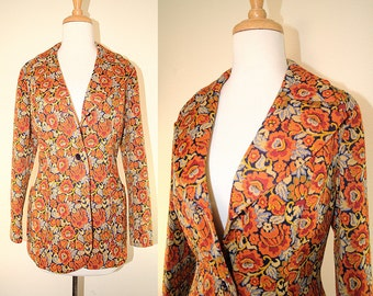 70's Orange Print Fitted Blazer Jacket Retro Kitsch Sz Medium