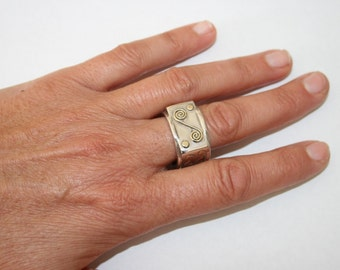 Four Sides Ring, Silver and Gold Ring, Silver Ring, Sterling Silver Ring, Designed Jewelry, Handcrafted Jewelry