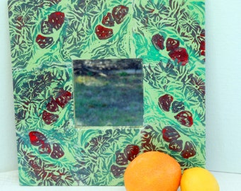 Strawberries mirror reuse wide wood frame lush berries blossoms and leaves collage