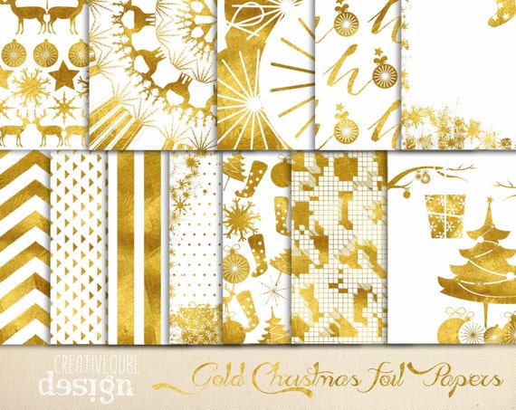 Digital paper, Christmas Gold Foil Paper, Digital Scrapbook paper pack - Instant download - 12 Digital Papers - Gold Foil