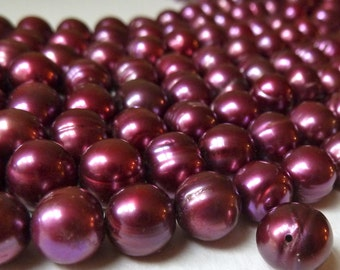 Full Strand - Cranberry Potato Pearls - 8mm - Lustrous Vivid Red