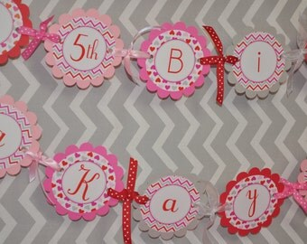 Valentine Birthday Banner - Valentine's Day Banner - February Birthday - Heart Chevron Birthday Banner