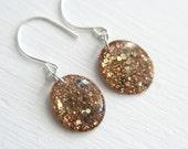 orange glitter resin earrings on sterling silver hooks - glitter jewelry under 25, 1.25 inches long,