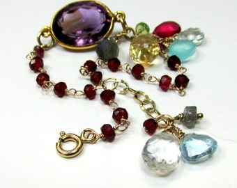 Amethyst Encased In a 14k Gold Filled Bezel with Gemstones and 14k Gold -  Artisan Handmade Bracelet with 14K Gold Wire and Chain