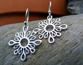 Sunburst Sterling Silver Earrings, Abstract Earrings, Dangle Earrings, Minimalist Earrings, Flower Jewelry, Simple Jewelry