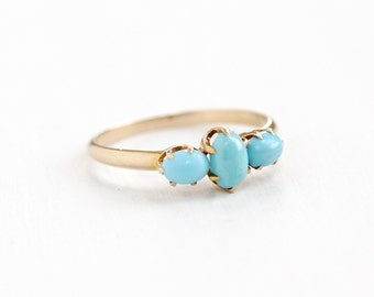 Sale - Antique 10k Rosy Yellow Gold Blue Turquoise Stone Victorian Ring - Size 7 Early 1900s Three Robin's Egg Blue Cabochon Fine Jewelry