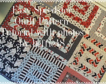 PATTERN, Easy Speedster Quilt, Pattern Tutorial w photos, pdf.