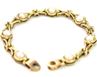 Solid 9K Gold Freshwater Pearl Bracelet Unusual Yellow Gold 9kt 9ct 375 190mm