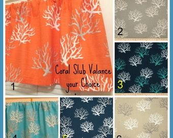 NEW   Window CURTAIN Valance Your Choice Coral Slub Valance