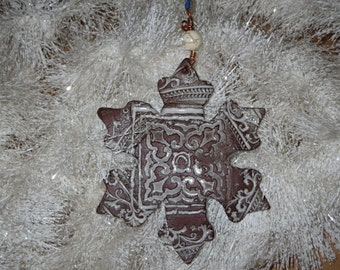 Handmade Ceramic Ornament - Snowflake