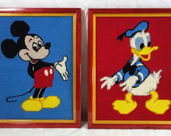 Mickey Mouse and Donald Duck in Needlepoint Framed Disney Wall art
