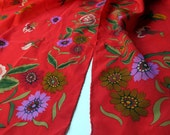 Bright Long Nipon Red floral Albert silk scarf