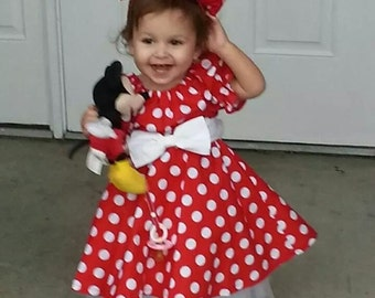 Minnie Mouse dress Red  polka dot dress long ruffled white bloomers 1t, 2t, 3t, 4t, 5t Gemma Lauren is modeling the dress