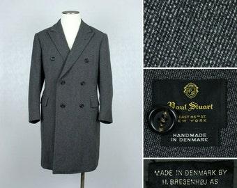 vintage 1960s mens coat • designer PAUL STUART double breasted danish fabric coat