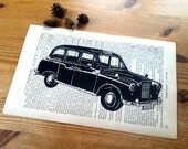 London Taxi Illustration Art Print on Antique 1896 Dictionary Book Page