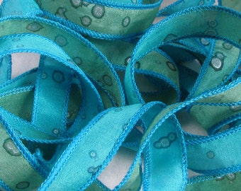 Hand Dyed Silk Ribbons -  Hand Painted - Ribbon bracelet pendant Wrist wrap - Quintess - Tropical Sparkle
