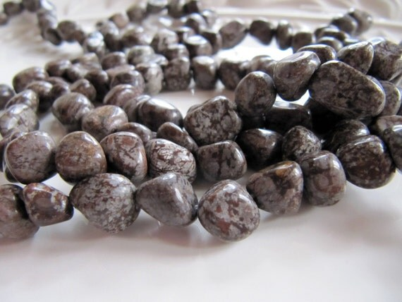 Snowflake Jasper Beads In Mocha Brown And Gray Medium