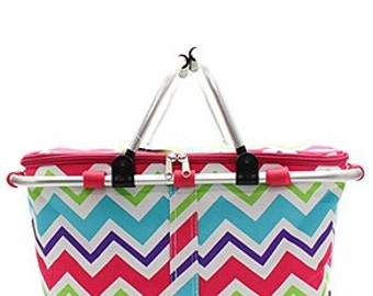 Insulated Multi color Chevron Collapsible Market Tote in Pink trim Personalized Free Great for Beach, Pool, Wedding gifts, Great for Tennis