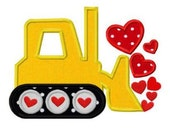 Boys Valentine's Day Bulldozer with Hearts Applique Shirt - Custom Machine Appliqué - Bulldozer Shirt - Valentine's Day Shirt