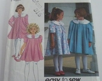 UNCUT Vintage 1992 Easy to Sew Simplicity 8257 Girls Dress and Unlined Coat Size 2-4