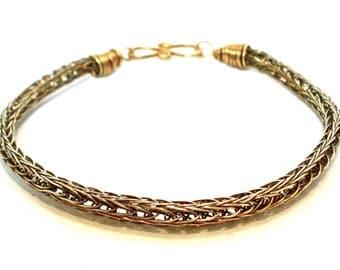 Double Viking Knit Bracelet in Antique Brass- Men's Medium, Women's XL- Norse Bracelet