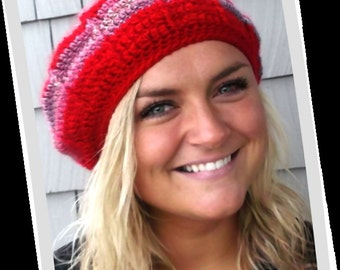 Radiating Stripes Red and Multi-Colored Crochet Slouch Beanie Hat